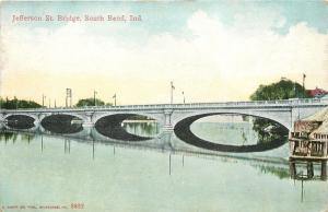 South Bend Indiana~Jefferson Street Bridge~Arches Reflect in Water~1910 Postcard