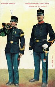 Military postcard Korporaal tambour Sergeant Infanterie groot tenue 02.14