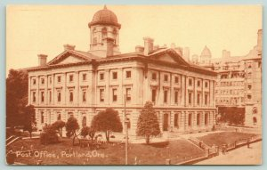 Portland Oregon~Post Office & View of Square~People on Steps~c1910 Postcard