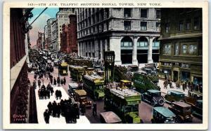 New York City Postcard 5th Avenue Traffic, Showing Signal Tower 1929 Cancel