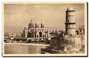 Old Postcard Marseille Bouches du Rhone The Cathedral and Fort St. John