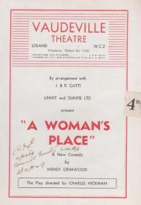 A Womans Place Wendy Grimwood Comedy Vaudeville London Theatre Programme