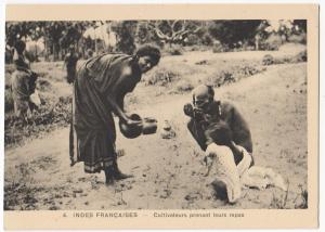 India; French India, Native Farmers Eating PPC, Unposted, c 1910's, By Braun