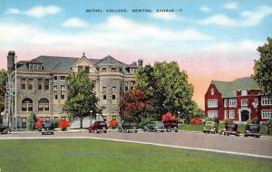 NEWTON, KS Kansas     BETHEL COLLEGE     c1940's Linen Postcard