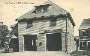 East Milton MA Fire Station in 1911 Postcard