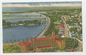 Linen Postcard ~St Petersburg Fl ~  Waterfront Park & Downtown Hotel District