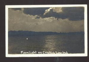 RPPC MOONLIGHT ON CROOKED LAKE INDIANA VINTAGE REAL PHOTO POSTCARD ANGOLA