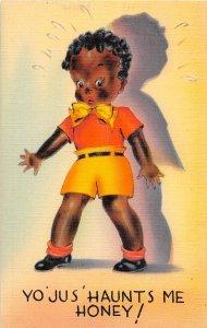 F73/ Black Americana Postcard Linen Comic Haunts Me Honey Bow Tie Boy 26