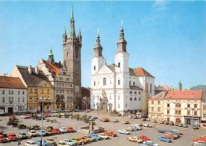 Czech R. Klatovy Namesti Miru Auto Cars Voitures Church