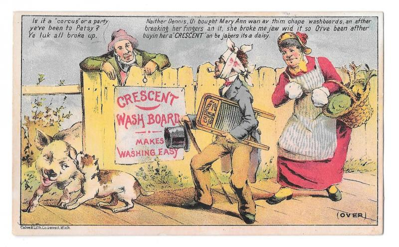 Victorian Trade Card Crescent Wash Board Bandaged Man and Wife