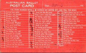 Humour Busy Person's Correspondence Card Australian Ballot Post Card 1909