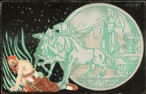 Italy Banks Money For Victory War Propaganda Greco Roman Motif CRESP Postcard gf