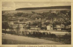 luxemburg, DIEKIRCH, L'Alzette et la Terrasse de l'Hôtel du Midi 1920s Postcard