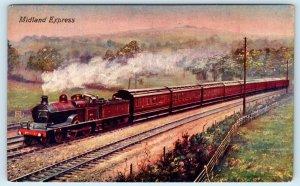 GREAT BRITAIN~ MIDLAND EXPRESS Passenger RAILROAD TRAIN  c1910s Postcard