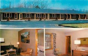 Sturbridge Motel Massachusetts~Light Snow on Ground~Autumn Print 1950s Postcard