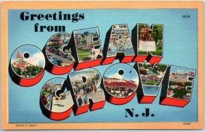 OCEAN GROVE New Jersey Large Letter Postcard Tichnor Linen #87303 c1940s Unused