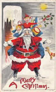 Christmas~Comic Santa on Rooftop~Chimney~Elf on Shoulders~Reindeer~1908 Gray PC