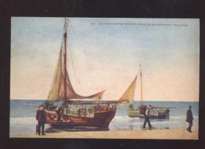 SCHEVENINGEN HOLLAND NETHLANDS DUTCH FISHING BOAT VINTAGE POSTCARD