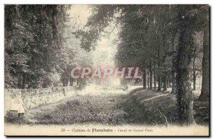 Old Postcard Chateau De Flamboin Canal and Great Bridge