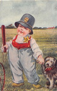 G76/ Pet Dog Animal Postcard Comic c1910 Boy Cop Police Club 17
