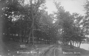 H4/ Belding Michigan RPPC Postcard c1910 Riverside Park Bench Trail