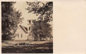 Griswold IA~Presbyterian Church on a Shady St~Belltower w/Battlements RPPC 1907