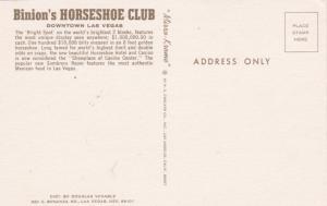 LAS VEGAS, Nevada, 40-60s; Binion's Horseshoe Club, Downtown