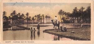 CAIRO EGYPT LANDSCAPE NEAR PYRAMIDS~L SCORTZIS~BOOKMARK POSTCARD 1910s