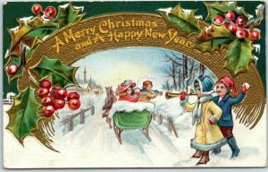 Vintage CHRISTMAS Embossed Postcard Sleigh Ride / Snowball Fight - 1909 Cancel