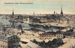 Stockholm fran Katarinahissen Bridge Harbour Postcard