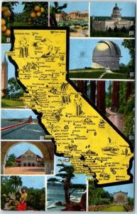 CALIFORNIA State Map Postcard Multi-View Redwoods Stanford Golden Gate Br. Linen