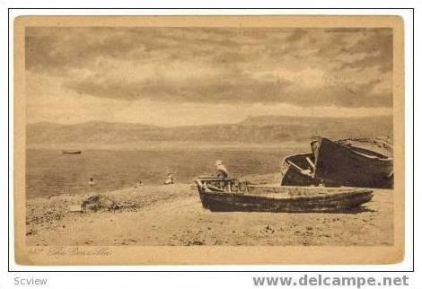 The Dead Sea, Palestine, Fishing boats, PU 1928