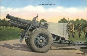WWII Era 155 MM Howitzer Cannon Linen Postcard