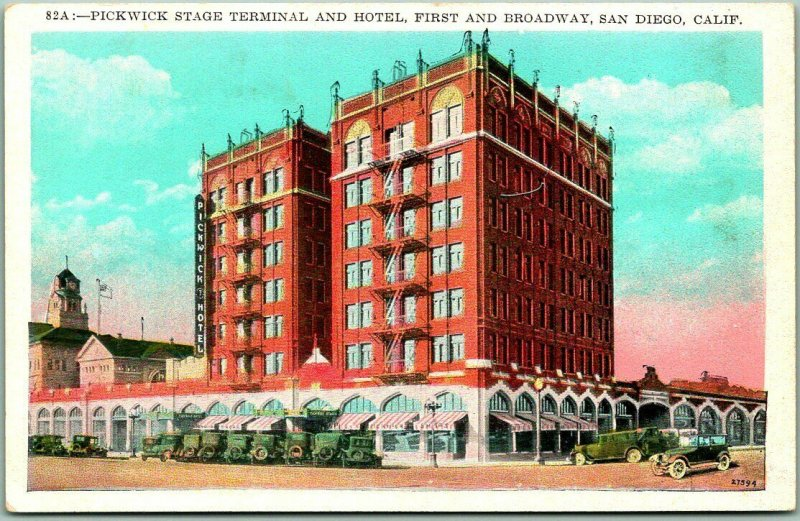 San Diego, CA Postcard PICKWICK STAGE TERMINAL AND HOTEL 1st & Broadway c1920s