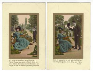 6 vintage cards. Theodor Eismann series 3035. Progress of a romance in the park