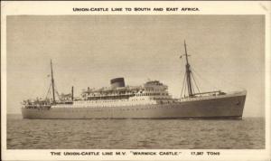 Union Castle Royal Mail Steamship Ship Postcard WARWICK CASTLE