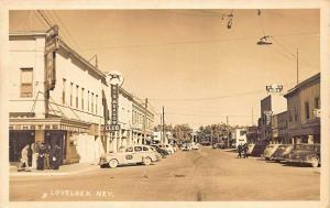 Lovelock NV Main Street Storefronts Big Meadow Club Old Cars Taxi RPPC Postcard