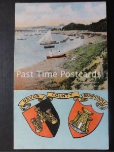 Old PC - Barnstaple, The River 'DEVON COUNTY' Heraldic Coat of Arms