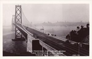 California San Francisco Oakland Bay Bridge View From Yerba Buena Island Towa...