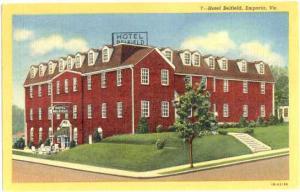 Hotel Belfield, Emporia, Virginia, VA, 1952 Linen
