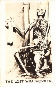 G58/ Interesting RPPC Postcard c1940 W.P.A. Worker Skeleton Comic 24
