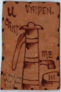 Vintage VIRDEN Manitoba Canada LEATHER Postcard U Can't (Pump) Me 1908 Cancel