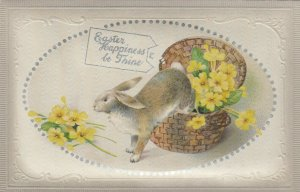 EASTER, 1900-10s; Pin cushion, Rabbit jumping out of basket, Yellow flowers