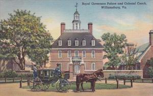 Royal Governors Palace And Colonial Coach Williamsburg 1939
