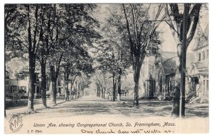 So. Framingham, Mass, Union Ave. showing Congregational Church
