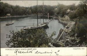 Halifax NS Purcell's Cove North West Arm Ship c1910 Postcard