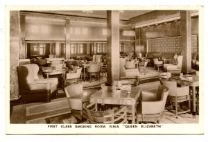 Cunard Line - RMS Queen Elizabeth,  First Class Smoking Room   *RPPC