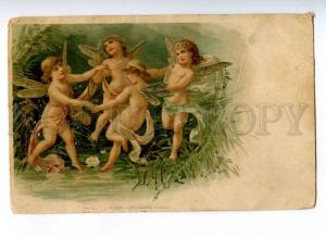188121 NUDE Nymph FAIRY Butterfly Vintage LITHO PC