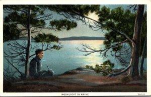 Maine Moonlight Scene Curteich