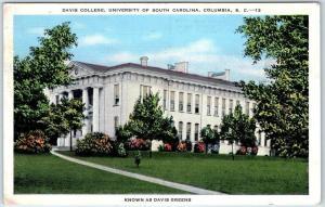 1948 University of South Carolina Postcard DAVIS COLLEGE Building View Linen